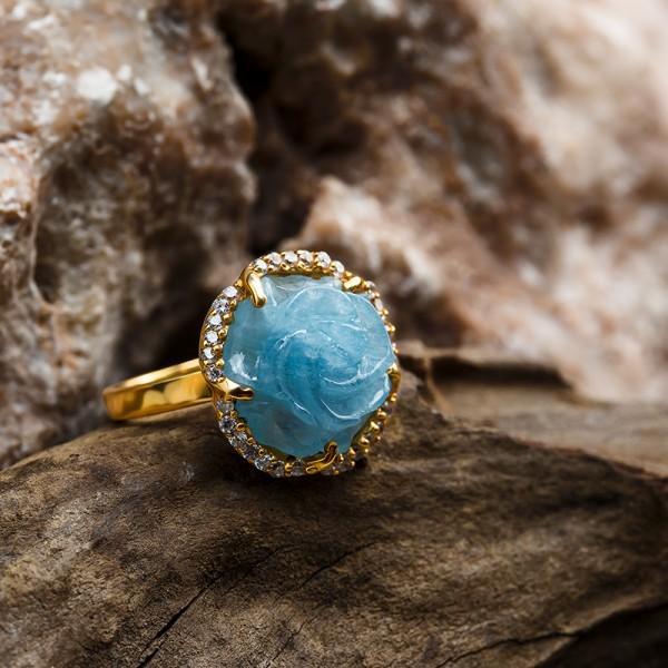 Nhẫn Vàng Đá Aquamarine