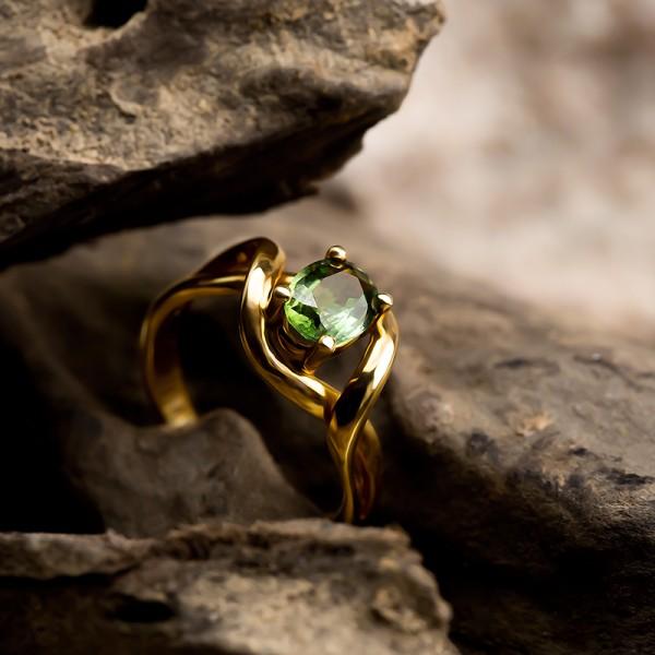 Nhẫn Vàng Sapphire Xanh Lục Ver6